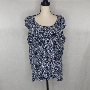 Chaps Blouse 3X Navy and White Print NWT